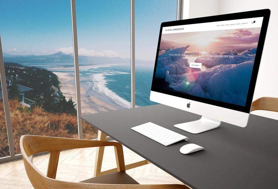 """компьютер с веб-сайтом электронной торговли на экране на столе с видом на море """"width ="""" 1920 """"height ="""" 1309 """"/>    <figcaption> Будущее электронной коммерции означает, что вам не нужно работать с магазин для продажи от EngageTaste </figcaption></figure> <h2><span id="""