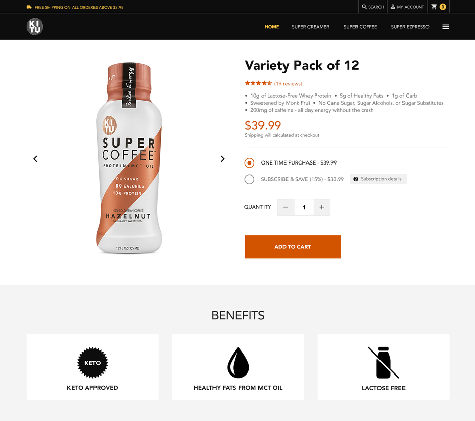 """Дизайн страницы продукта для бренда кофе """"width ="""" 1436 """"height ="""" 1272 """"/>    <figcaption> Страница продукта с физическим изображением продукта подчеркивает изображения. Дизайн Satbir S </figcaption></figure> <p>. Физические продукты имеют неотъемлемый недостаток в цифровом пространстве, и цель содержания их страниц — заменить обычный магазин. Они могут достичь этого, вложив больше ресурсов в средства массовой информации, подробные спецификации продукта или выделив доставку / возврат. политики. </p> <p> В то же время физические продукты, такие как свечи или вино, которые полагаются на невизуальные чувства, имеют тенденцию имитировать цифровые продукты в своей стратегии страницы, а именно акцент на убедительных описаниях. Но поскольку они полагаются на личный вкус, тенденция в этой области заключалась в использовании онбординговых викторин перед страницей продукта. </p> <p> Они задают посетителям (забавные, но стратегические) вопросы об их предпочтениях, чтобы создать ощущение, что страница продукта, которую они в конечном итоге увидят, уже создана для них. </p> <figure data-id="""