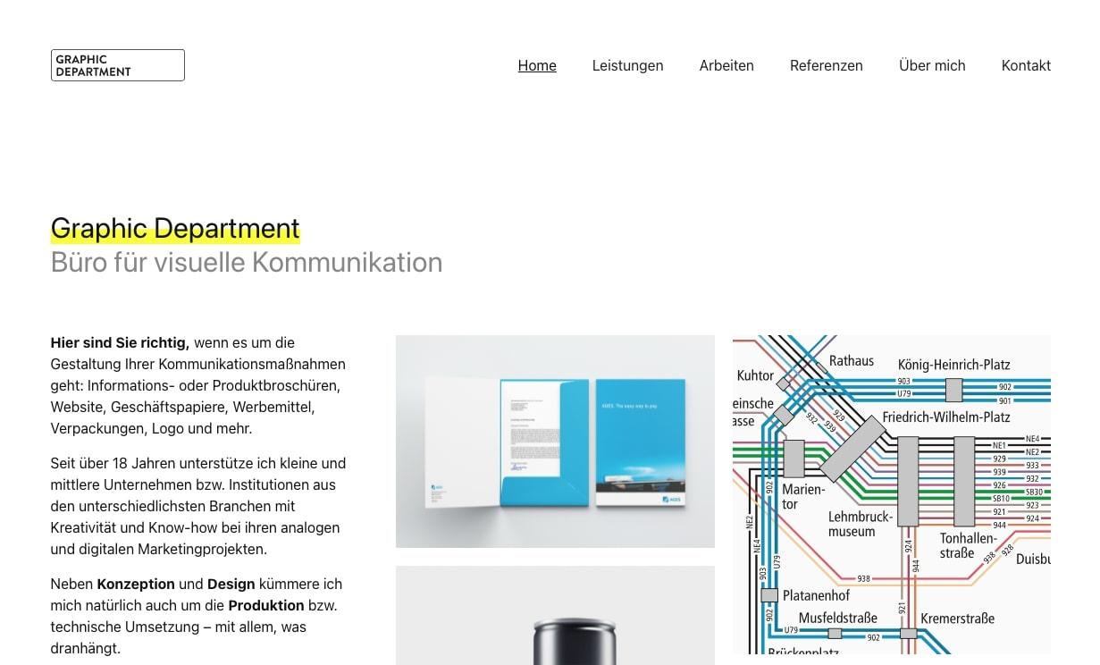 Изображение веб-сайта графического отдела.