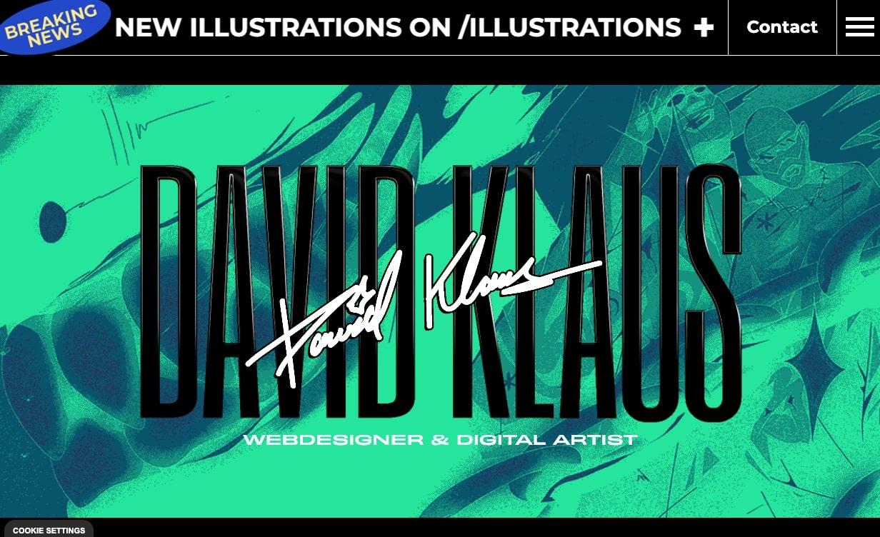 Изображение веб-сайта Дэвида Клауса.