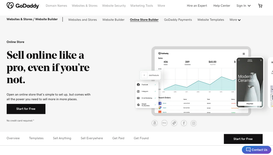 Снимок экрана с альтернативами Shopify: GoDaddy