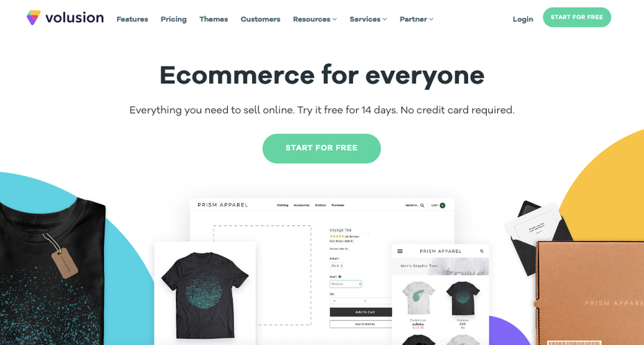 Скриншот альтернатив Shopify: Volution