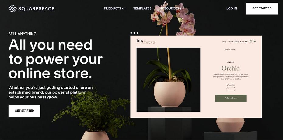 Скриншот альтернатив Shopify: Squarespace