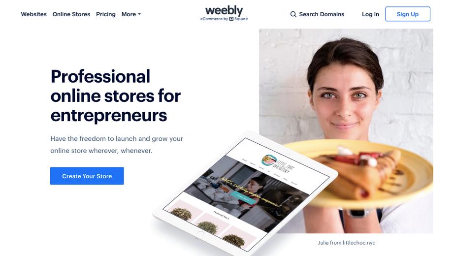 Скриншот альтернатив Shopify: Интернет-магазин Weebly / Square