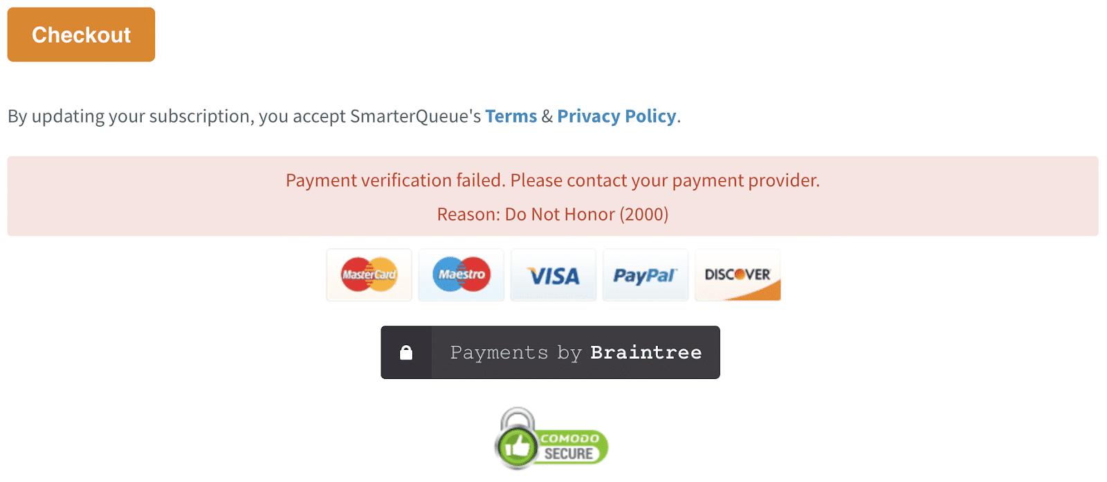 Пример отклонения кредитной карты во время покупки через Интернет (Источник: SmarterQueue.com)