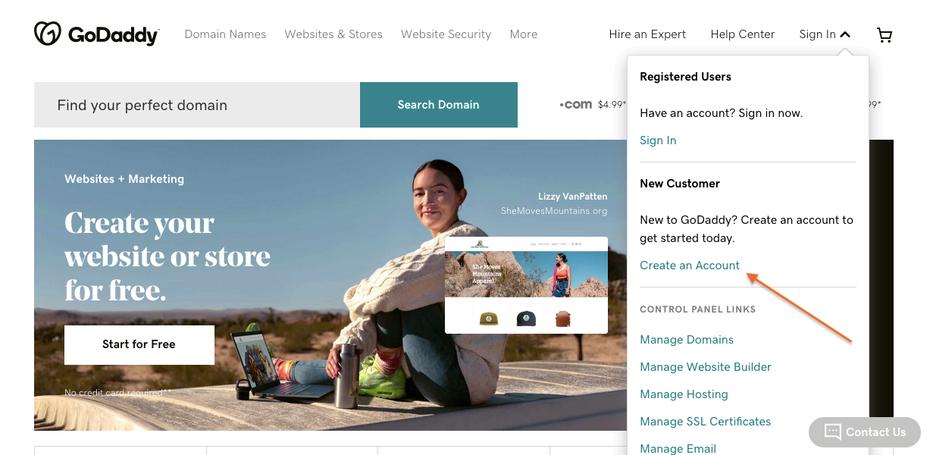 снимок экрана для руководства по созданию веб-сайта GoDaddy