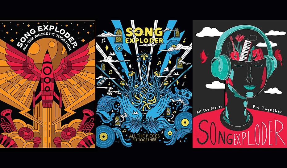 """красочные иллюстрированные плакаты для Song Exploder авторов Skilline, Eliza Osmo и Jen Se """"width ="""" 930 """"height ="""" 545"""