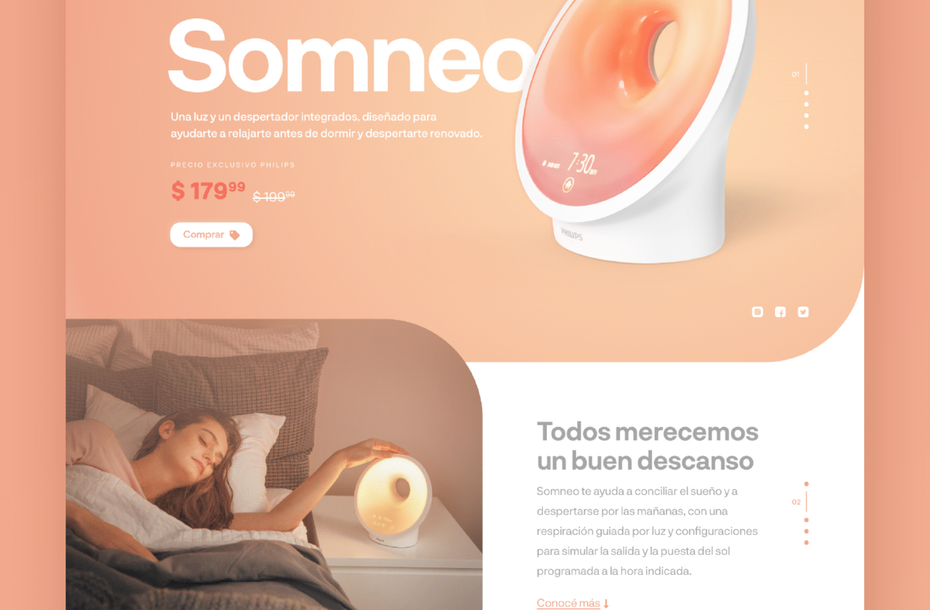 """персиковый, мягкий цифровой дизайн продукта Somneo """"width ="""" 2494 """"height ="""" 1636"""