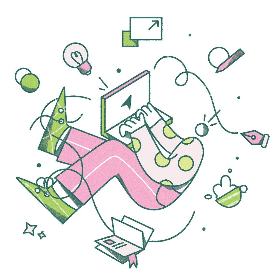 """Абстрактная иллюстрация человека, работающего на портативном компьютере """"width ="""" 1000 """"height ="""" 1000"""