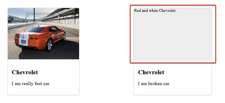 """Два элемента карты, оба с большим изображением, заголовком и описанием. На карточке слева изображен красный Chevrolet Camaro. Карточка справа показывает замещающий текст с надписью «Красный и белый Chevrolet» внутри серой области-заполнителя. Эта область выделена красной рамкой. """"Class ="""" wp-image-351997 jetpack-lazy-image """"data-recalc-dims ="""" 1 """"data-lazy- data-lazy- data-lazy-src ="""" https: //i1.wp.com/css-tricks.com/wp-content/uploads/2021/09/GtnGMqw.jpg?resize=871%2C401&is-pending-load=1#038;ssl=1 """"/> <noscript> <img loading="""