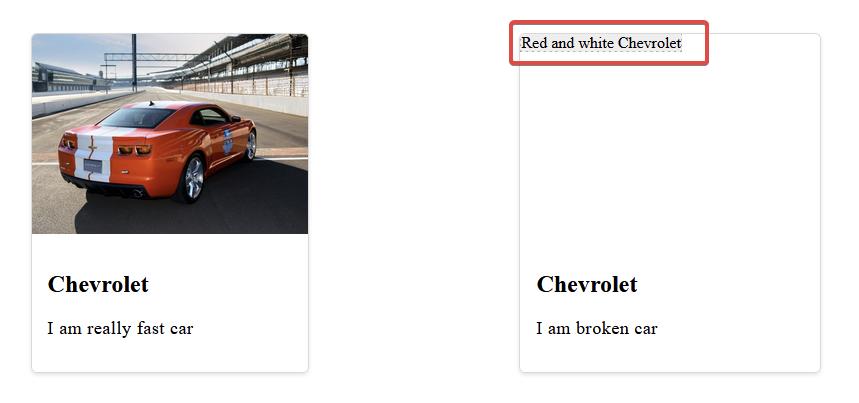 """Два элемента карты, оба с большим изображением, заголовком и описанием. На карте слева изображен красный Chevrolet Camaro. На карточке справа показан альтернативный текст с надписью «Красный и белый Chevrolet». """"Class ="""" wp-image-351996 jetpack-lazy-image """"data-recalc-dims ="""" 1 """"data-lazy- data-lazy- data-lazy -src = """"https://i0.wp.com/css-tricks.com/wp-content/uploads/2021/09/JzRLmel.jpg?resize=859%2C403&is-pending-load=1#038;ssl= 1 """"/> <noscript> <img loading="""