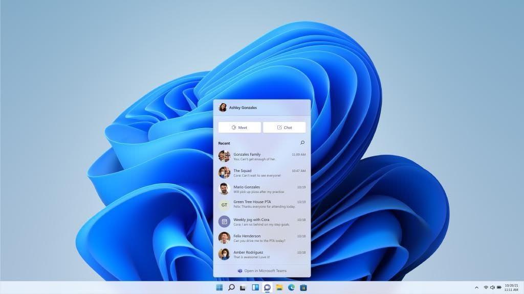 Команды добавлены на панель задач в Windows 11