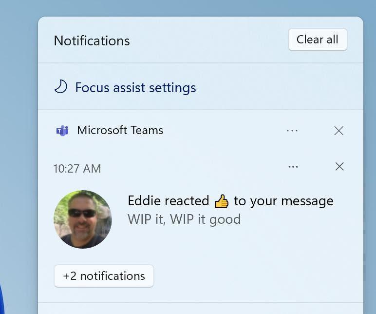 Focus Assist в Центре уведомлений в Windows 11