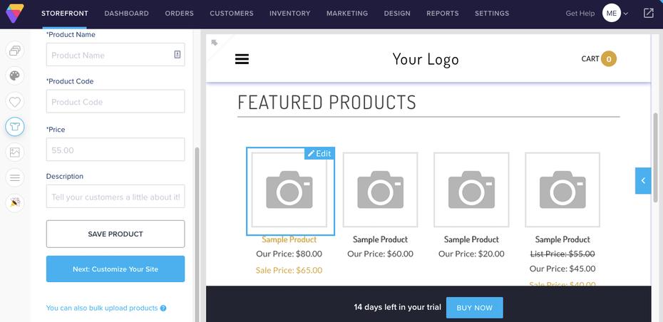 Пример лучших конструкторов веб-сайтов для электронной коммерции: Volusion