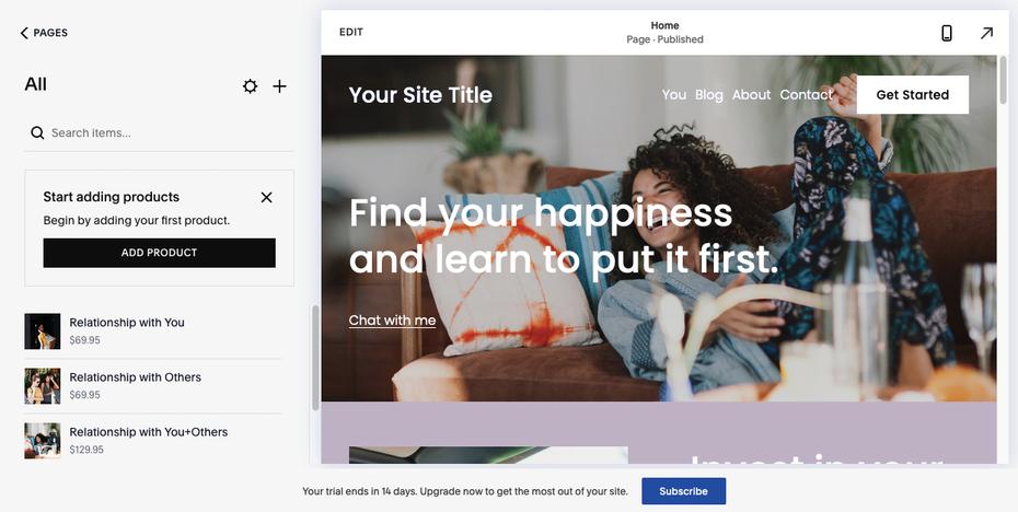 Пример лучших конструкторов веб-сайтов для электронной коммерции: Squarespace