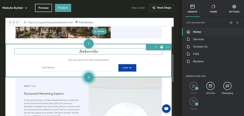 Пример лучших конструкторов веб-сайтов для электронной коммерции: GoDaddy