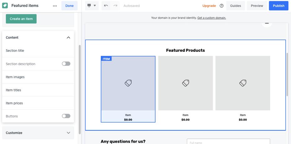 Примеры лучших конструкторов веб-сайтов для электронной коммерции: Weebly / Square Online
