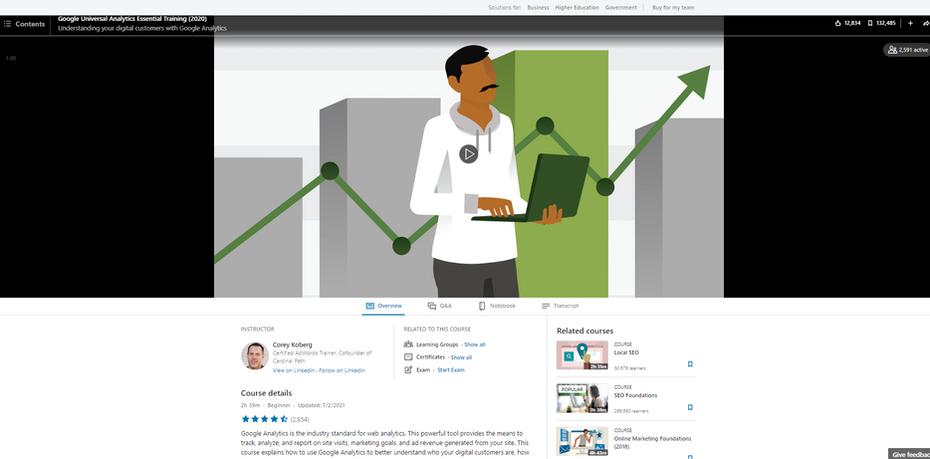 """Снимок экрана с основным курсом обучения Google Universal Analytics """"width ="""" 1868 """"height ="""" 922 """"/> </span></h2> <p> Через LinkedIn Learning <strong> Цена </strong>: ежемесячная подписка на LinkedIn Learning, 29,99 долларов США </p> <p> <strong> Продолжительность </strong>: 2 часа 39 минут </p> <p> <strong> Уровень квалификации </strong>: Начальный </p> <p> <strong> Охваченные темы </strong>: </p> <ol> <li style="""