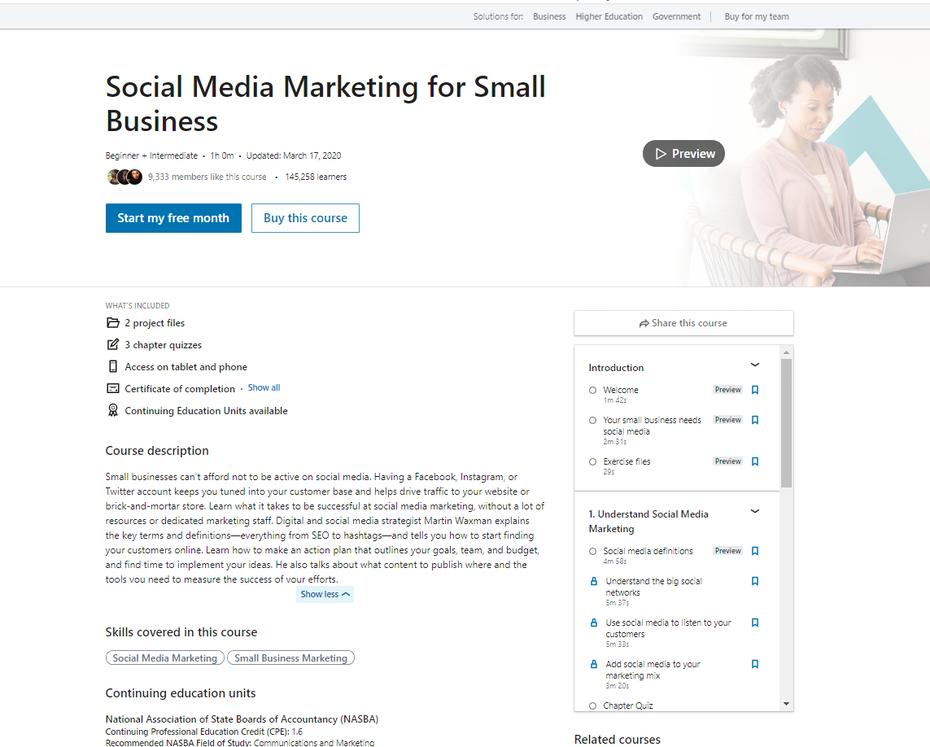 """снимок экрана """"Маркетинг в социальных сетях для малого бизнеса"""" width = """"1143"""" height = """"918"""" />    <figcaption> Через LinkedIn Learning </figcaption></figure> <p> <strong> Цена </strong>: Ежемесячная подписка на LinkedIn Learning, 29,99 доллара США </p> <p> <strong> Продолжительность </strong>: один час </p> <p> <strong> Уровень квалификации </strong>: от начального до среднего </p> <p> <strong> Охваченные темы </strong>: </p> <ol> <li style="""