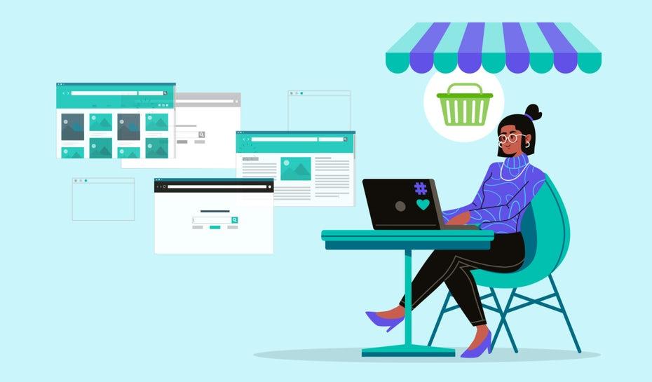 """Человек сидит за столом и рассматривает свои лучшие варианты конструкторов веб-сайтов электронной коммерции """"width ="""" 1280 """"height ="""" 750"""