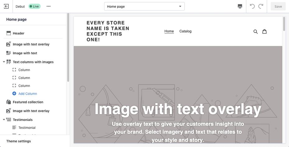 Пример лучших конструкторов веб-сайтов для электронной коммерции: Shopify