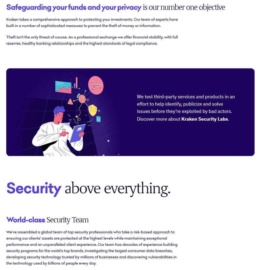 """Нельзя упускать из виду конфиденциальность и безопасность. """"Width ="""" 1019 """"height ="""" 1038 """"/>    <figcaption> Наличие раздела конфиденциальности и безопасности укрепляет доверие к вашему бизнесу через Kraken. </figcaption></figure> <p> Многие посетители обеспокоены безопасностью конфиденциальной информации. Позиция вашего предприятия в отношении конфиденциальности и безопасности может иметь для них все значение. В зависимости от страны может потребоваться юридическое соблюдение информации о пользовательских данных, например соблюдение Общих правил защиты данных Европейского Союза. Используйте раздел «Конфиденциальность и безопасность» на своем веб-сайте, чтобы продемонстрировать, а не просто рассказать, как ваш малый бизнес защищает своих клиентов, пользователей и их личную информацию. </p> <p> Много вдохновения можно почерпнуть из сервиса обмена криптовалют Kraken. Их веб-сайт имеет красочный интерфейс и мощную информационную архитектуру, которую можно сканировать. Он также использует простой язык, что упрощает понимание. У них есть подробная страница конфиденциальности и безопасности, на которой описывается, как они защищают цифровую валюту и защищают данные пользователей. Kraken использует этот раздел как возможность привлечь внимание пользователей, продемонстрировав свою приверженность защите своих конфиденциальных данных. Kraken также предоставляет ресурсы и элементы действий, чтобы узнать больше об их методах безопасности и о том, как пользователи могут защитить свою электронную почту. Это еще один способ завоевать доверие ваших бизнес-клиентов. </p> <h3><span id="""
