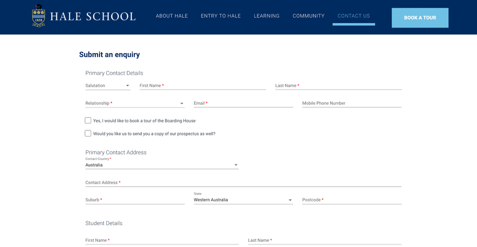 Заявление и форма запроса на веб-странице