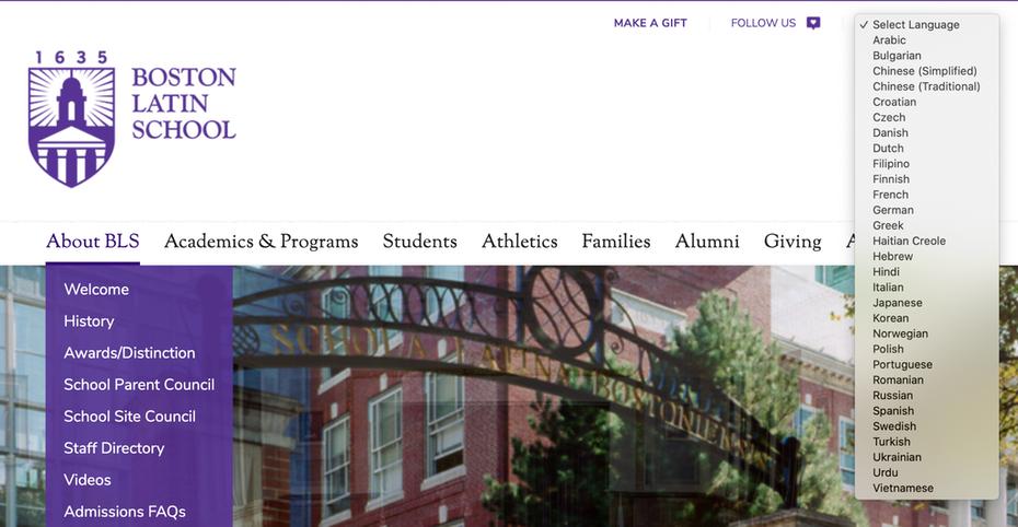 """Веб-сайт школы, на котором показаны варианты на нескольких языках """"width ="""" 2048 """"height ="""" 1061"""