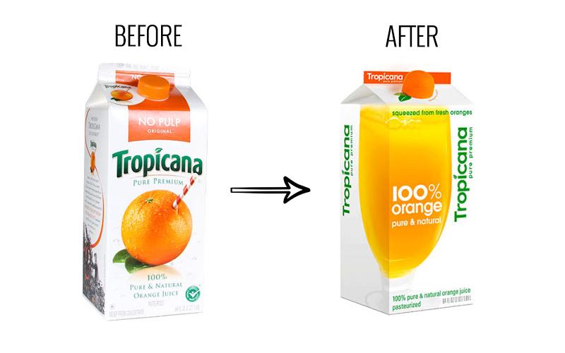 """Ребрендинг Tropicana """"width ="""" 800 """"height ="""" 500 """"/>    <figcaption> Ребрендинг Tropicana был далеко не плодотворным, через Quezco </figcaption></figure> <p> Изменение было направлено на привлечение внимания людей, заботящихся о своем здоровье потребителей, но покупатели сочли, что новый брендинг выглядел дешевле (что, возможно, усугублялось тем фактом, что идея напитка «чистый премиум» стала менее заметной), в то время как у многих была эмоциональная связь с имиджем апельсина с пирсингом из соломы. части дизайна продукта, Tropicana отчуждает свой рынок. Продажи упали на 20%, и вскоре компания вернулась к своим оригинальным произведениям искусства. </p> <p> Самым известным провалом безалкогольных напитков стала компания Coca-Cola, чья New Coke 1985 года стала легендарной катастрофой. Осознавая, что они теряют долю рынка в пользу Pepsi, и полагая, что бумеры переходят на диетические напитки, Coke решила зацепить аудиторию поколения X более сладкой колой. Напиток, который стал New Coke, хорошо зарекомендовал себя в фокус-группах, и Coke приняла важное решение: вместо того, чтобы выпускать новый напиток вместе с Coke, они рационализируют свои растущие производственные линии и откажутся от старого напитка. </p> <figure data-id="""