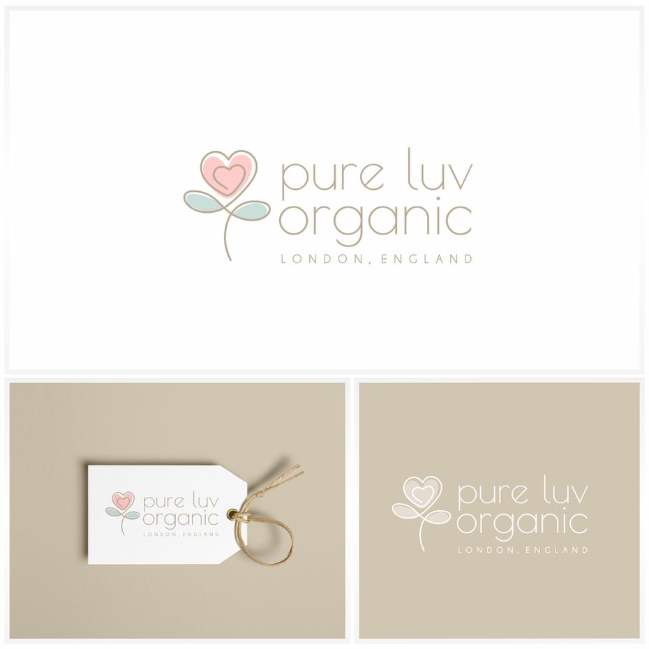 """три разных изображения цветка красного сердца, бирки на сумке и штампа с логотипом pure luv organic """"width ="""" 2000 """"height ="""" 2000"""