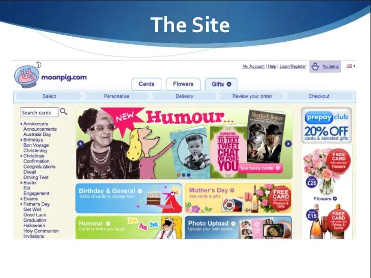 """старый веб-сайт Moonpig, демонстрирующий старушку в черно-белом, мультфильм с дамой и различные кнопки категорий карточек """"width ="""" 729 """"height ="""" 546"""
