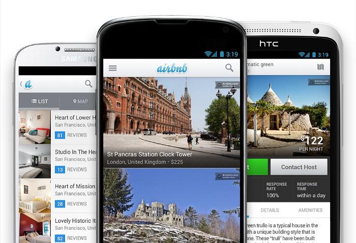 три смартфона демонстрируют старый вид приложения Airbnb