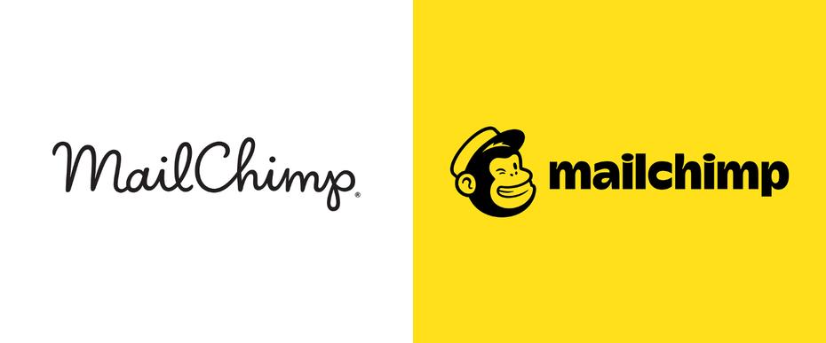 """есть два логотипа Mailchimp. Один написан курсивом, а другой напечатан шрифтом с подмигивающей обезьяной """"width ="""" 1400 """"height ="""" 582"""