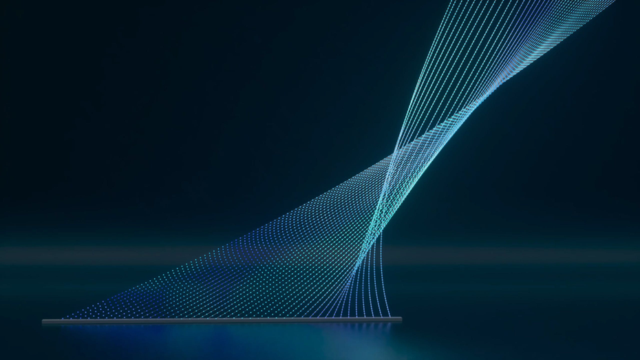 """thin electric blue lines twist and form the partnership mark of McKinsey"""" width=""""2048"""" height=""""1152"""