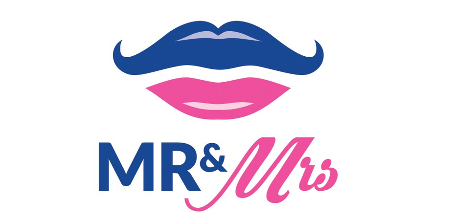 """a logo with an illustration of a blue mustache and a pink lower lip. Below the image says Mr & Mrs"""" width=""""963"""" height=""""468"""