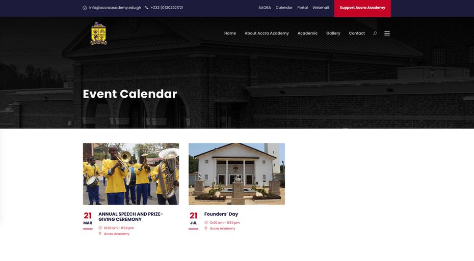 """Школьный веб-сайт, на котором показаны школьные мероприятия """"width ="""" 2048 """"height ="""" 1130"""